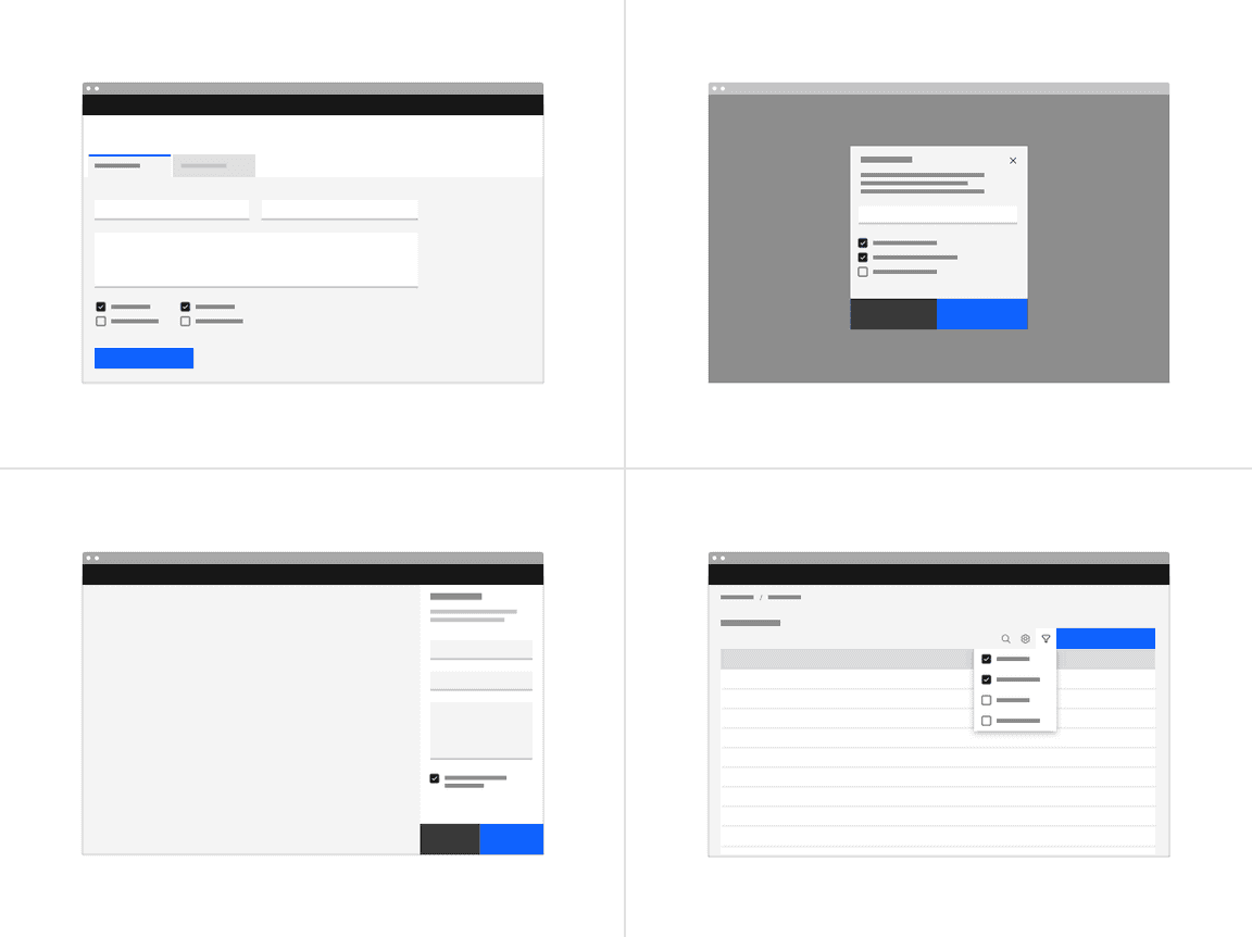 Placement of checkboxes in different UI scenarios.