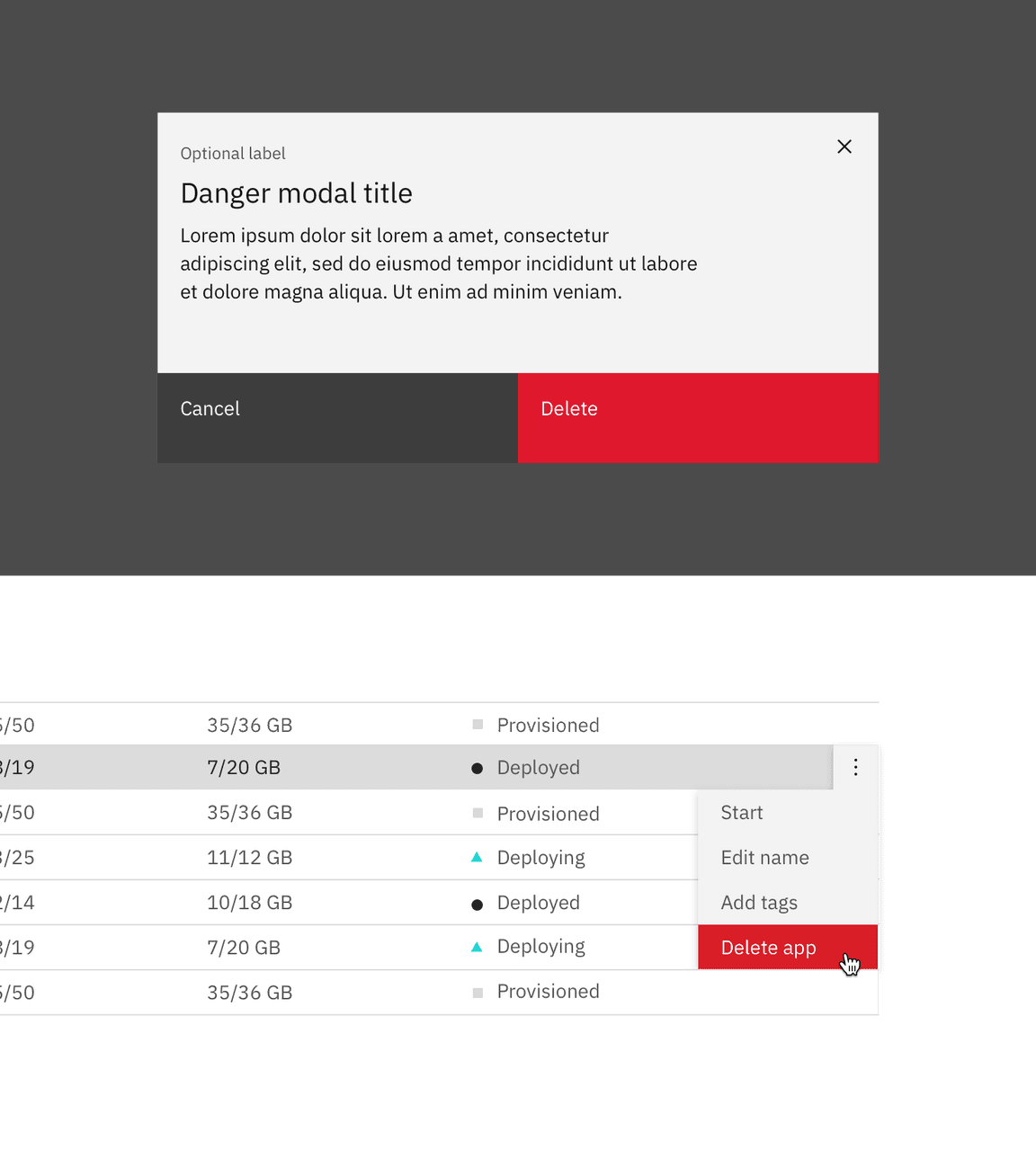 Example of delete in a modal and overflow menu
